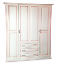 Шкаф четырехстворчатый со встроеннным комодом (розовая патина) из серии